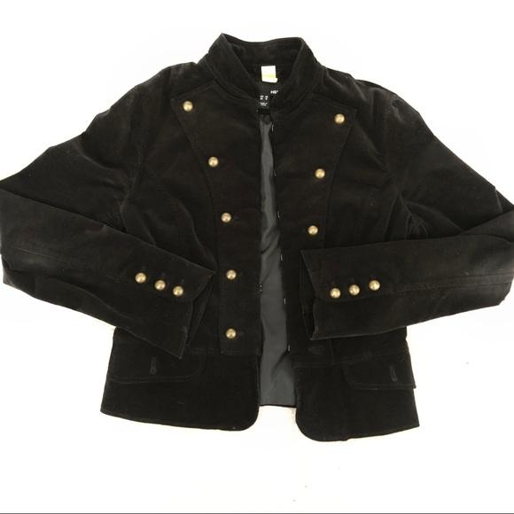 H&M Black Cropped Corduroy Military Jacket Size 8